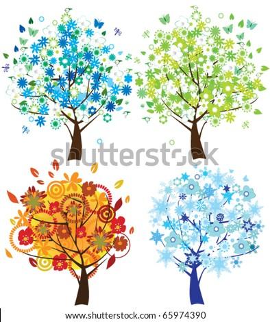 vector season trees - stock vector