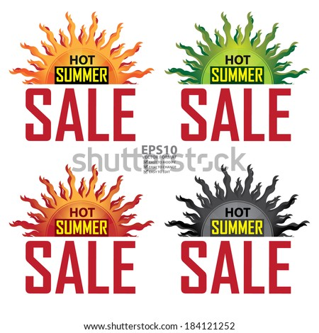 Vector : Seasonal or Special Promotion, Colorful Hot Summer Sale Icon, Banner, Sticker or Label Isolated on White Background  - stock vector