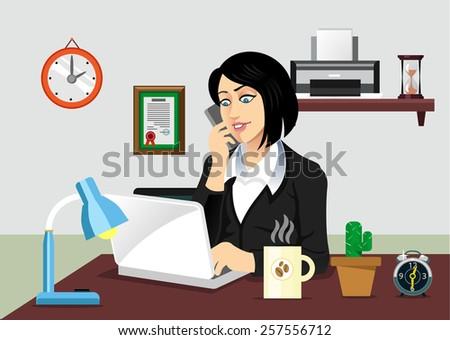 vector secretary workplace flat illustration stock vector
