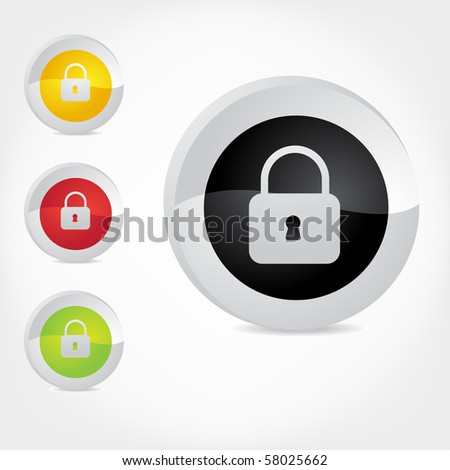 Vector secure icons. - stock vector