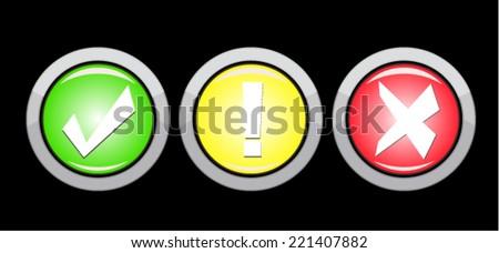 Vector security buttons set  - stock vector
