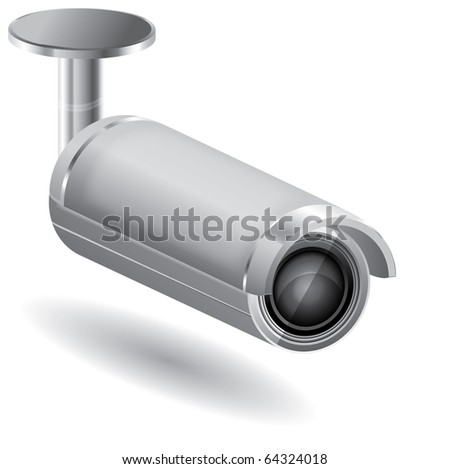 Vector security camera on a isolated background - stock vector