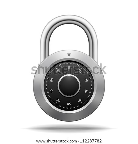 Vector Security Padlock. Chrome steel with dial isolated on white - stock vector