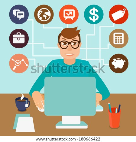 Vector self employed man in flat style - sitting at computer and working on freelance project - infographic with icons and signs - stock vector