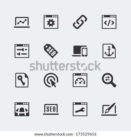 Vector seo and web optimization mini icons set - stock vector