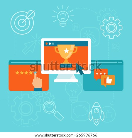 Vector seo concept in flat style - top ranking website on the screen of computer - positive customer reviews and good ratings - stock vector