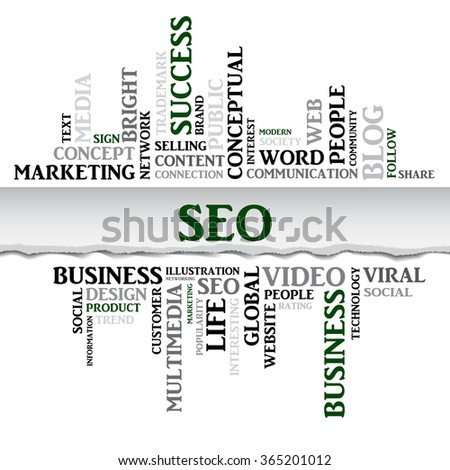 Vector seo concept related words in tag cloud isolated on white with different association business terms. The effect of torn paper - stock vector