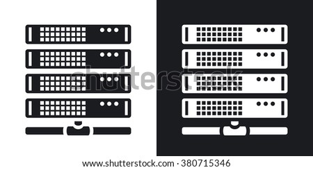 Vector server icon. Two-tone version on black and white background - stock vector