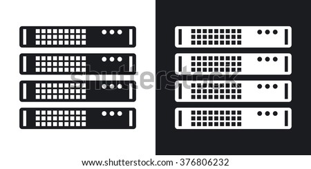 Vector server rack icon. Two-tone version on black and white background - stock vector