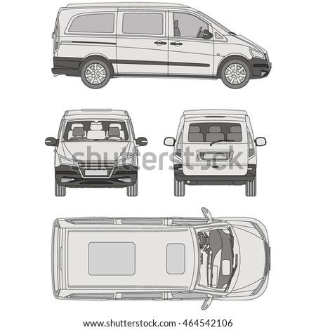 Car sedan engine parts interior seats stock vector - Commercial van interior accessories ...