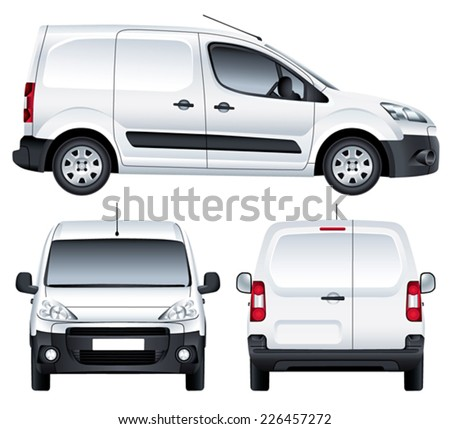 Vector service car. White blank commercial vehicle - delivery van. (simple gradients only, no gradient mesh) - stock vector