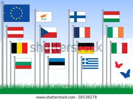 Vector set A of 15 flags from the EU. All objects are grouped and tagged with the country name. This set belongs to set B with remaining EU flags. - stock vector
