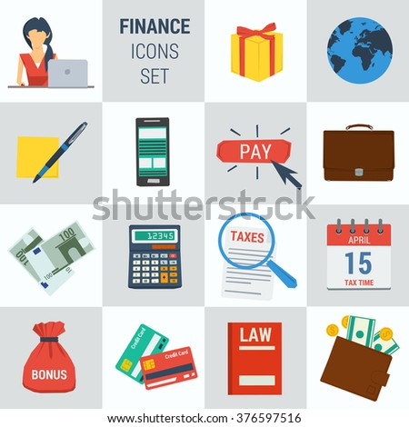 Vector set 15 accounting finance icons on square form. Female accountant, money calculator, documentation book, calendar, bonus cash, smartphone. Flat style. Isolated web infographic - stock vector
