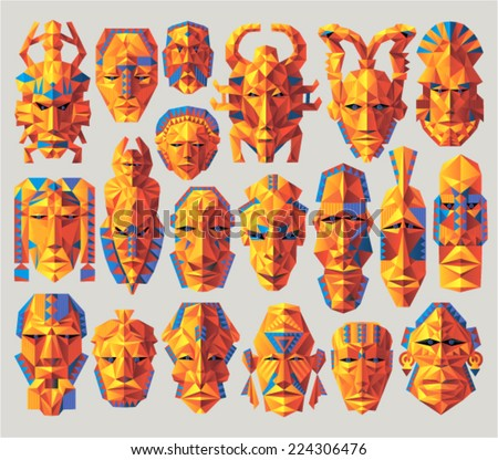 Vector set - african masks (constructive design) - stock vector