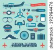 Vector Set: Airplanes and Flight Icons and Objects - stock vector