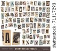 "vector set: alphabet based on vintage newspaper cutouts - ideal for your threatening letters, ransom notes or similar ... ""projects"" (all letters are grouped and highly detailed/textured) - stock photo"
