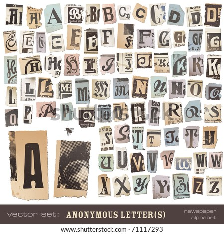 "vector set: alphabet based on vintage newspaper cutouts - ideal for your threatening letters, ransom notes or similar ... ""projects"" (all letters are grouped and highly detailed/textured) - stock vector"