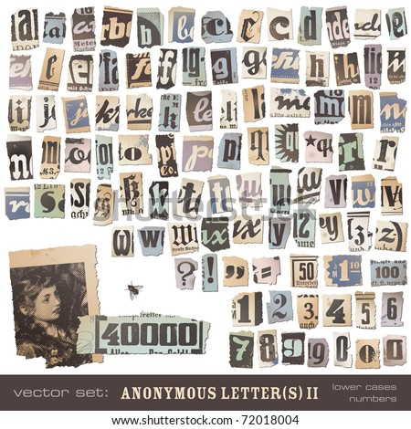 "vector set: alphabet based on vintage newspaper cutouts part 2 (lower cases and numbers) - ideal for your threatening letters, ransom notes or similar ... ""projects"" - stock vector"