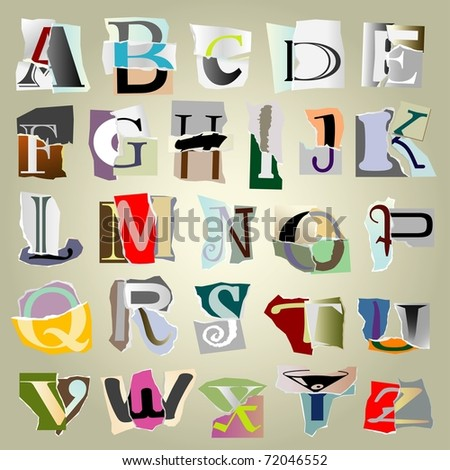 vector set alphabet:big collage latters based on ripped paper pieces - stock vector