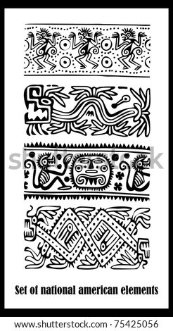 Vector set - American Indian national patterns - stock vector