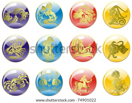 Vector set astrology sign. Vector Illustrations of the twelve horoscope zodiac star signs - stock vector
