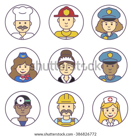 Vector set avatar. Set people profession icons. Different people avatars.