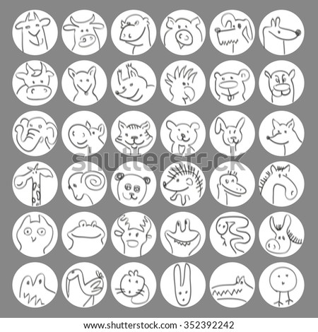 Vector set avatars of hand drawn funny doodle animals, sketch style. - stock vector