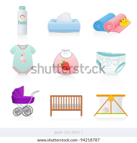 Vector set: Baby icons (newborn). Isolated on white background baby stuff (bath things, diaper, clothes, carriage) - stock vector
