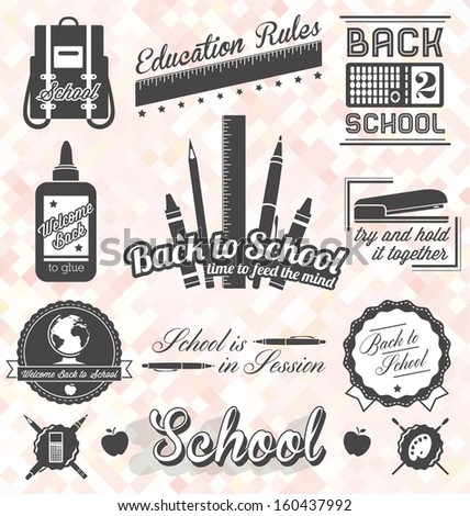 Vector Set: Back to School Labels and Icons - stock vector