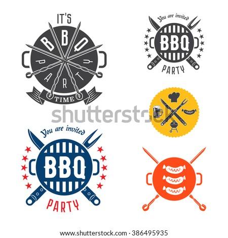vector set barbecue design elements logos stock vector 386495935