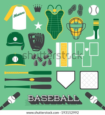 Vector Set: Baseball Objects and Icons - stock vector