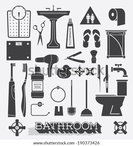 Vector Set: Bathroom Icons and Silhouettes - stock vector