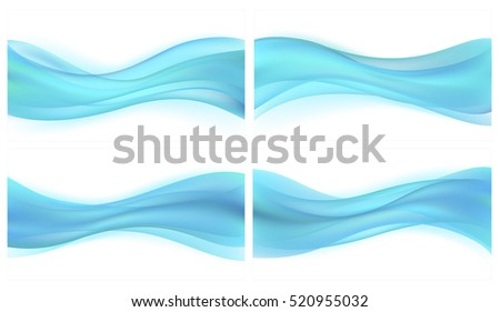 Vector set beautiful blue background of stylized waves