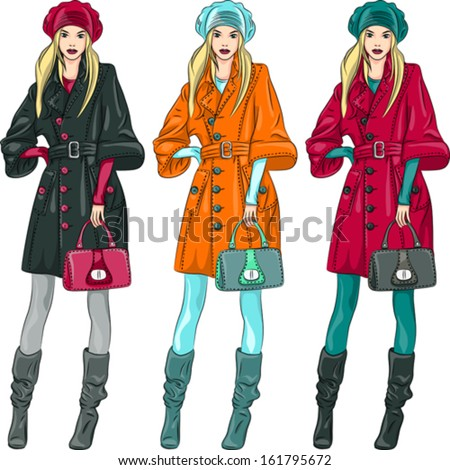 Vector set beautiful fashion girls top model in a beret, coat and boots in three color combinations - stock vector