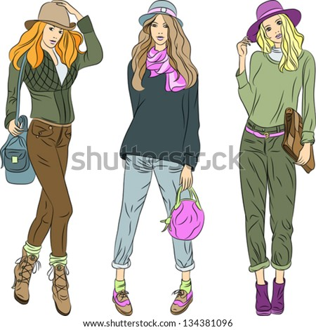 Vector set beautiful fashion girls top models with bags in the summer or spring clothes: jacket, sweater, shoes, pants and hats - stock vector