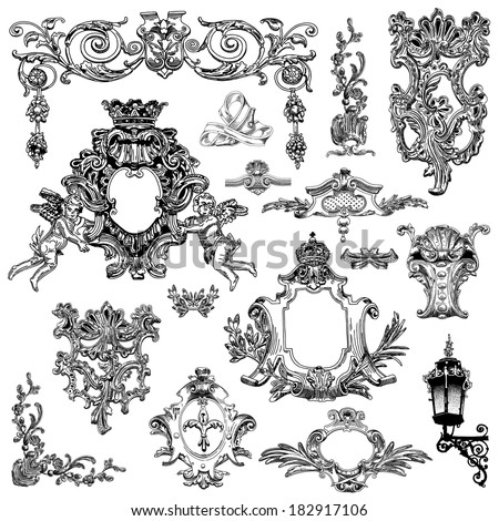 vector set: black and white vintage sketch calligraphic drawing of heraldic design element and page decoration, of Lviv historical building, Ukraine - stock vector