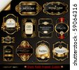 vector set: black gold-framed labels - stock photo