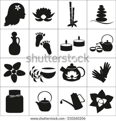 Vector set  black spa icon. Massage and spa icons black and white.