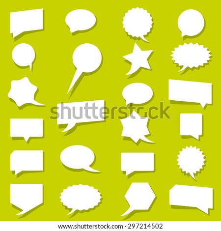 Vector set blank white talk bubbles with shadow. Eps 10 vector file.