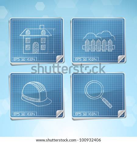 Vector Set: Blueprint Icons - stock vector