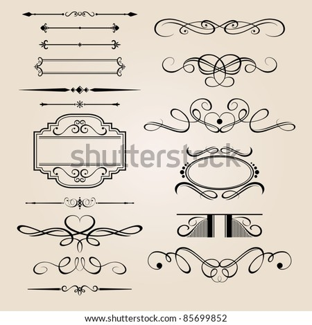 Vector Set Border Design Element - stock vector