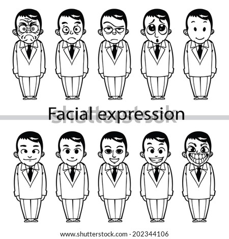 Vector set businessman facial expression and various emotions - stock vector