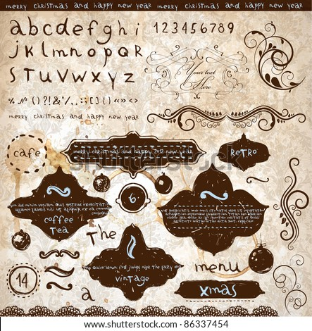 vector set: calligraphic and christmas design elements and page decoration - lots of useful elements to embellish your layout, sketch font - stock vector