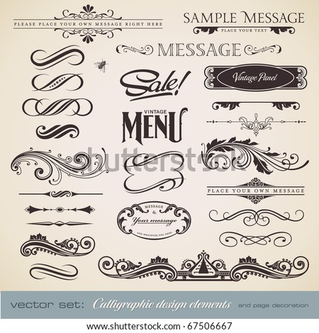 vector set: calligraphic design elements and page decoration (3) - lots of useful elements to embellish your layout - stock vector