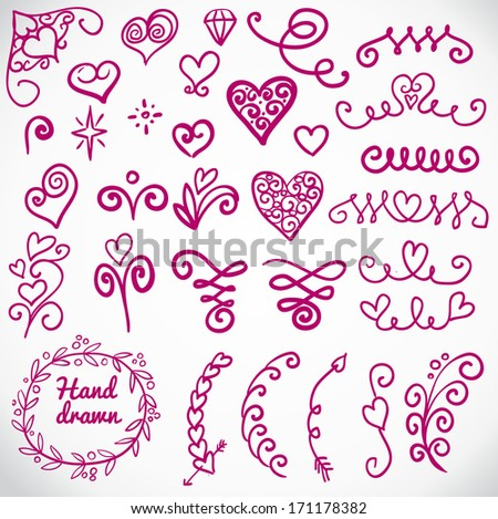 vector set: calligraphic design elements and page decoration - lots of useful elements to embellish your layout, vector illustration hand drawn - stock vector