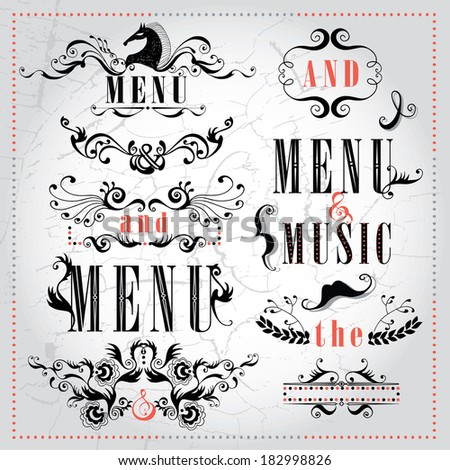 Vector set calligraphic design elements and page decoration lots of useful elements to embellish your layout, unusual frames in cabaret retro style for restaurant, cafe and concert stuff - stock vector