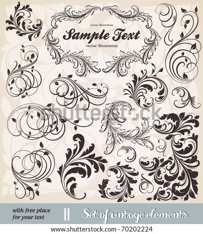vector set: calligraphic design elements and page decoration - lots of useful elements to embellish your layout. With seamless ornament. - stock vector