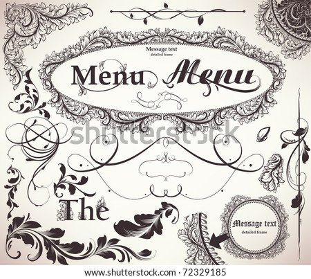 vector set: calligraphic design elements and page decoration - lots of useful elements to embellish your layout. Detailed antique floral frames.