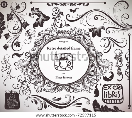 vector set: calligraphic design elements and page decoration - lots of useful elements to embellish your layout. With Ex-libris. - stock vector