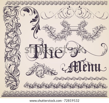 vector set: calligraphic design elements and page decoration - lots of useful elements to embellish your layout, detailed antique and baroque frames. - stock vector
